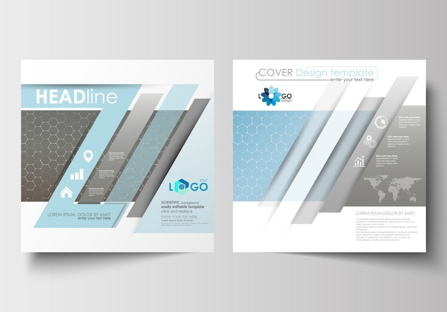 Vorlagen für quadratische broschüren, zeitschriften, flyer, broschüren