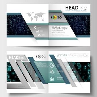 Vorlagen für quadratische designbroschüren, magazine, flyer, broschüren. virtuelle realität