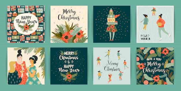 Vorlagen für weihnachten und happy new year.