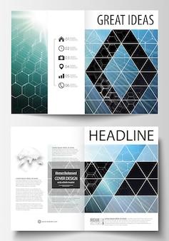 Vorlagen für zweifache broschüren, magazine, flyer oder berichte.