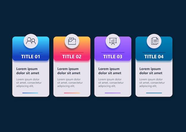 Vorlagen-infografik mit 4 optionen in farbe voll