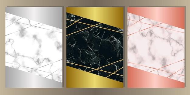 Vorlagen mit geometrischem dekor aus marmor und text für grußkarten, geschenkdrucke und cover