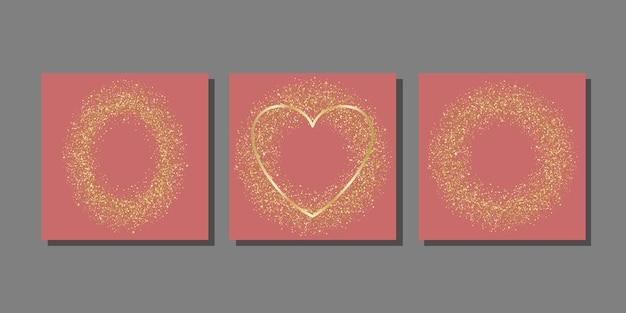 Vorlagen mit goldenem glitzer aus sternrund- und diamantpartikeln für grußkartenhüllen