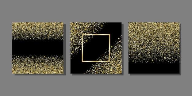 Vorlagen mit goldenem glitzer für grußkarten