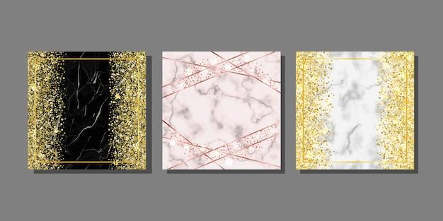 Vorlagen mit marmor und glitzer zur begrüßung von geburtstagsplakaten und covern mit textplatz