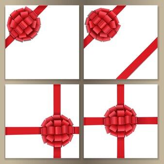 Vorlagen mit rotem satinband und schleife für die begrüßung von weihnachts- und neujahrsgeburtstagskarten