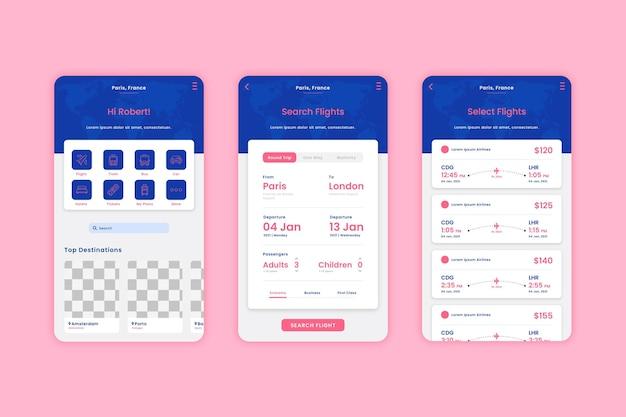 Vorlagen-set für reisebuchungs-apps