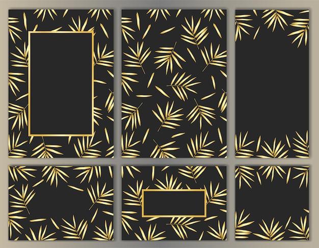 Vorlagen-set mit bambusblättern für poster-cover-grußkarten