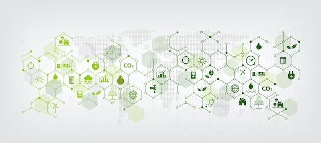 Vorlagen und geometrischer grüner geschäftshintergrund für nachhaltigkeitskonzept. links zum umweltschutz mit flachem symbol