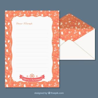 Vorlagen von einem weihnachtsbrief und umschlag mit einem orangefarbenen rahmen