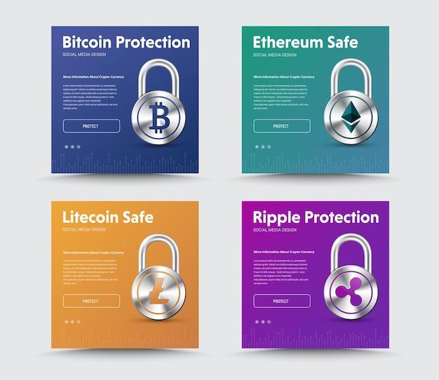 Vorlagen von social-media-bannern mit einem vorhängeschloss und emblemen von kryptowährung, bitcoin, ripple, ethereum und lightcoin.