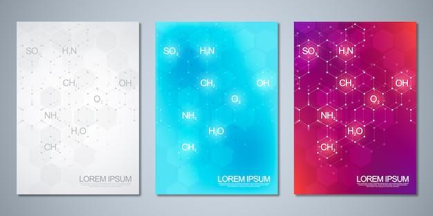 Vorlagenabdeckung mit abstraktem chemischem hintergrund chemischer formeln und molekularer strukturen. wissenschafts- und innovationstechnologiekonzept.