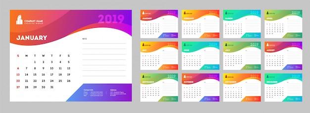 Vorlagenart, satz von 12 monaten kalenderdesign.