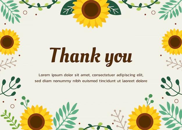 Vorlagenbanner mit sonnenblume und blättern und text des dankes.