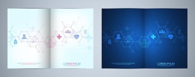 Vorlagenbroschüre oder -umschlag, buch, flyer, mit medizinischen symbolen und symbolen. konzept für gesundheitswesen, wissenschaft und medizintechnik.