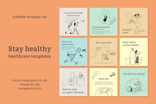 Vorlagendateien für häufige krankheiten setzen social-media-werbung für das gesundheitswesen