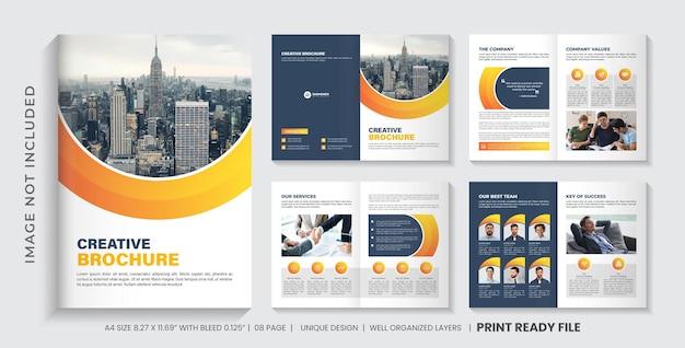 Vorlagendesign für unternehmensbroschüren oder layoutdesign für mehrseitige geschäftsbroschüren