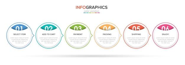 Vorlageneinkaufs-infografiken sechs optionen oder schritte mit symbolen und text