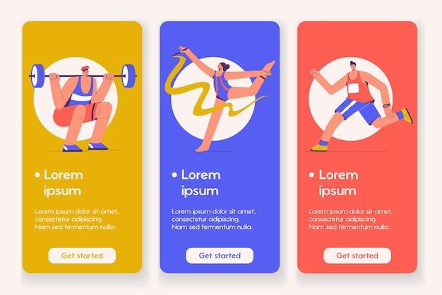 Vorlagenentwurf für mobile app-seite mit professionellem sportkonzept