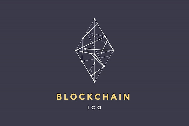 Vorlagenetikett für blockchain-technologie. raute mit verbundenen linien für marke, etikett, logo des smart contract block symbols. für dezentrale transaktionen. illustration