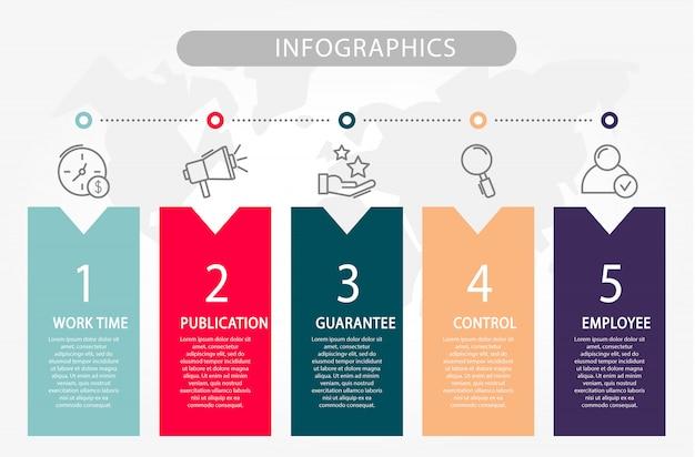 Vorlageninfografiken mit fünf elementen