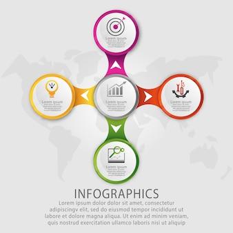 Vorlagenkreis infografiken mit fünf elementen