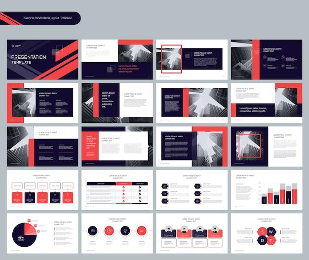 Vorlagenpräsentationslayout mit infografik-elementen
