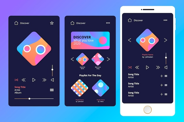 Vorlagensatz für die benutzeroberfläche der musik-player-app