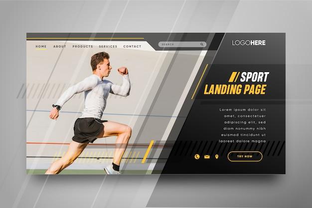 Vorlagensport-landingpage mit foto