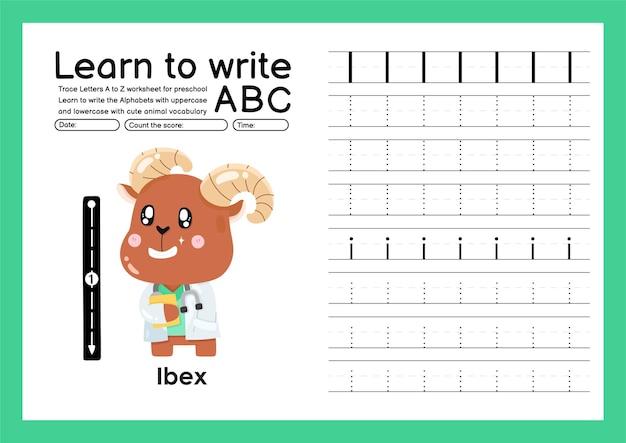 Vorschulkinder verfolgen a bis z mit buchstaben- und tiervokabular alphabet-tracing-arbeitsblatt i steinbock