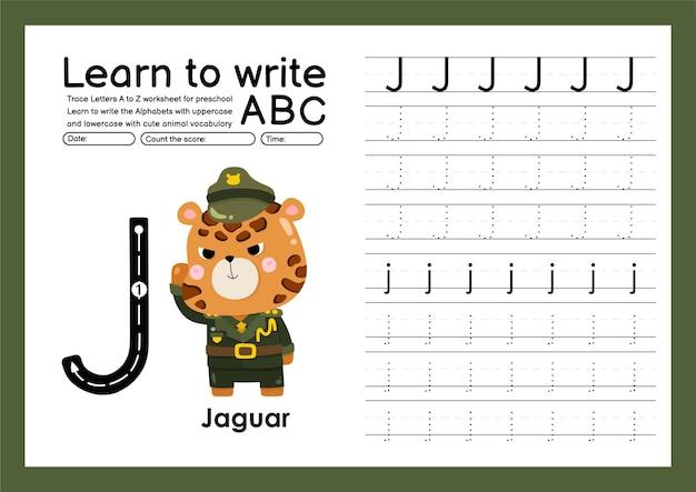 Vorschulkinder verfolgen a bis z mit buchstaben- und tiervokabular arbeitsblatt zum alphabet-tracing j jaguar
