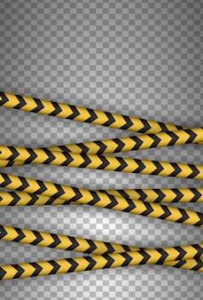 Vorsicht, gefahr, warnung, aufmerksamkeit, polizeibänder, schild, linie. schwarze und gelbe linie gestreift.