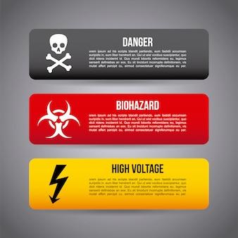 Vorsicht infografiken über graue hintergrundvektorillustration