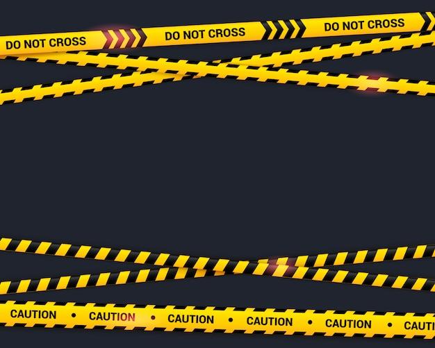Vorsicht klebeband auf schwarz. kreuzen sie keine gelb gekreuzten bänder mit lichteffekt. warnlinie in der flachen art, illustration der gefährlichen zone.