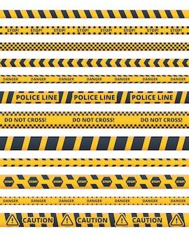 Vorsicht polizei linien flache vektor-illustrationen gesetzt