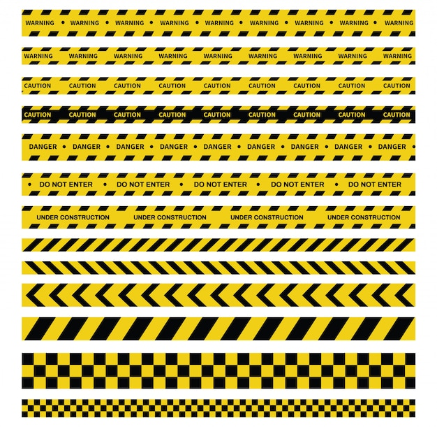 Vorsicht und gefahrbänder. warnband. schwarze und gelbe linie gestreift.