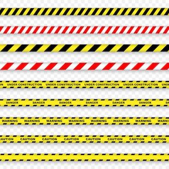 Vorsicht- und gefahrenstreifen auf transparentem hintergrund.