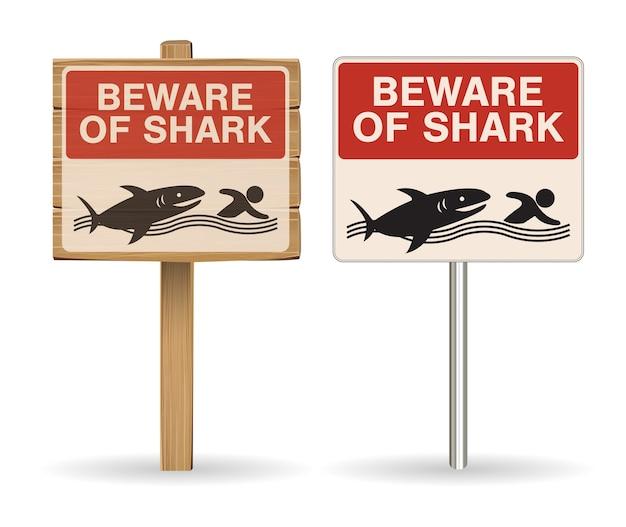 Vorsicht vor hai zeichen auf weißem hintergrund