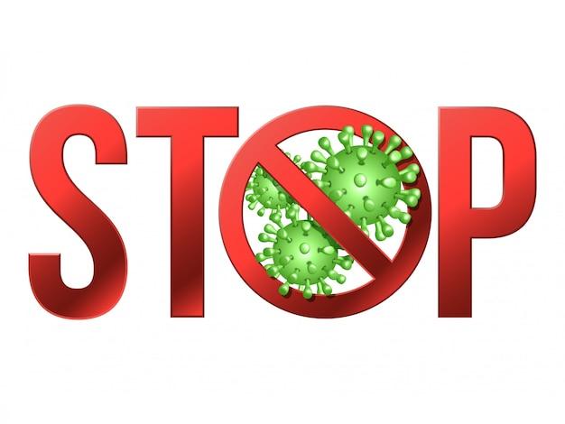 Vorsicht vorsicht stop covid-19 mit dem coronavirus-symbol.