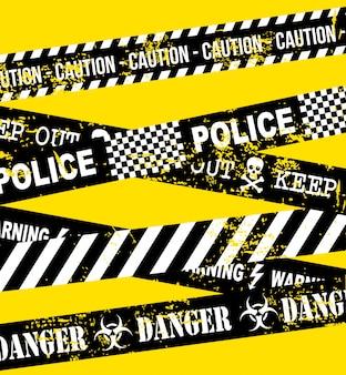 Vorsichtband über gelber hintergrundvektorillustration