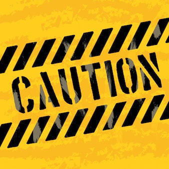 Vorsichtdesign über gelber hintergrundvektorillustration