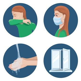Vorsichtsmaßnahmen bei der ausbreitung des virus: niesen im ellbogen, tragen einer medizinischen maske, händewaschen, belüften des raums.