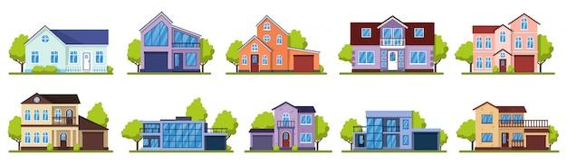 Vorstadthäuser. lebendes immobilienhaus, moderne landvillen. hauptfassade, straßenarchitekturillustrationsikonen gesetzt. hausbau, wohnsiedlung vorstadt, architektur lebende illustration