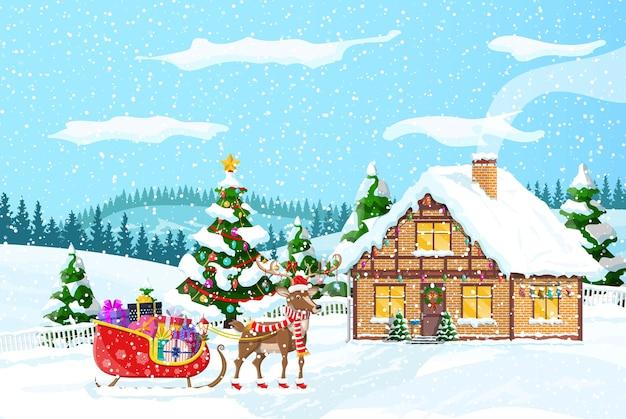 Vorstadthaus bedeckt schnee. gebäude in feiertagsverzierung. weihnachtslandschaftsbaum, santa schlitten rentiere.