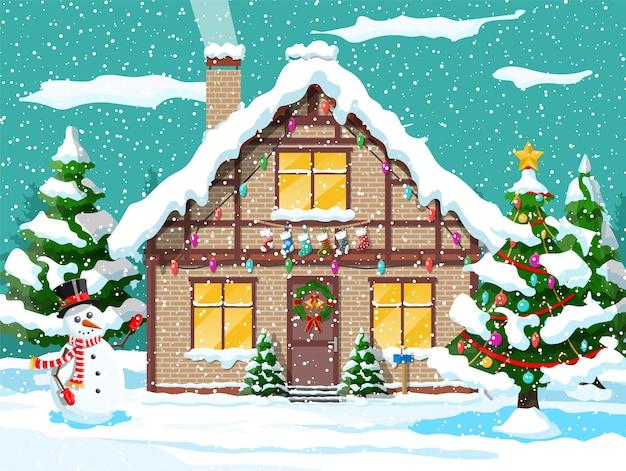 Vorstadthaus bedeckt schnee