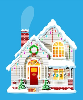 Vorstadthaus bedeckte schnee.