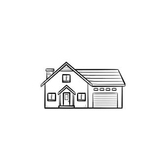 Vorstadthaus hand gezeichnete umriss-doodle-symbol