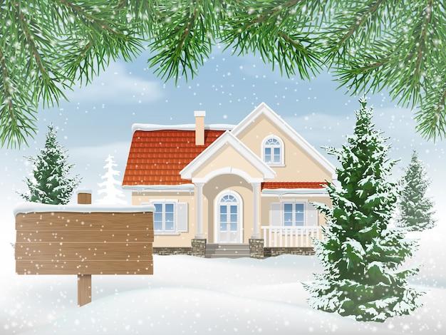 Vorstadthaus im schnee. tannen bäume im vorgarten. holzschild zum verkauf.