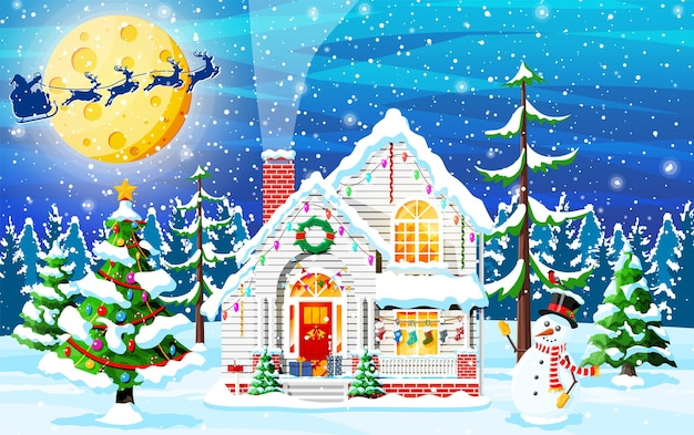 Vorstadthaus mit schnee bedeckt. gebäude in feiertagsverzierung. weihnachtslandschaftsbaum, schneemann santa sleigh rentiere. dekoration des neuen jahres. frohe weihnachten urlaub weihnachtsfeier. vektor-illustration
