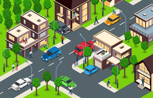 Vorstadtviertel mit von bäumen gesäumten straßen moderne zwei dreistöckige familienhäuser grasfläche isometrische kompositionsillustration